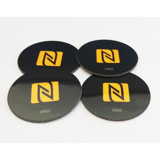 LINQS® On-Metal & Waterproof NFC Tag Sticker (Set of 4) | NXP NTAG213 Chip | Universal Compatibility | Rewritable, Reprogrammable