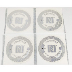LINQS® Transparent NFC Action Tags | Set of 4 | Best scan Strength | for All NFC Phones | Smartrac Bullseye NTAG213