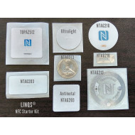 LINQS® - NFC Starter Kit | 8 Stickers kit with NTAG203, NTAG213, NTAG216, Topaz, Ultralight NFC Tags