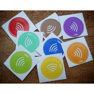 LINQS® Waterproof NFC Tag Stickers (Set of 8) | for All Phones | NXP NTAG213 chip | Works on iPhone - NDEF Formatted