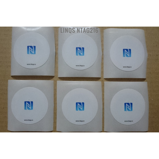 LINQS® - High Memory NTAG216 NFC Tag Stickers (Pack of 6) | Waterproof | Compatible with All NFC Phones